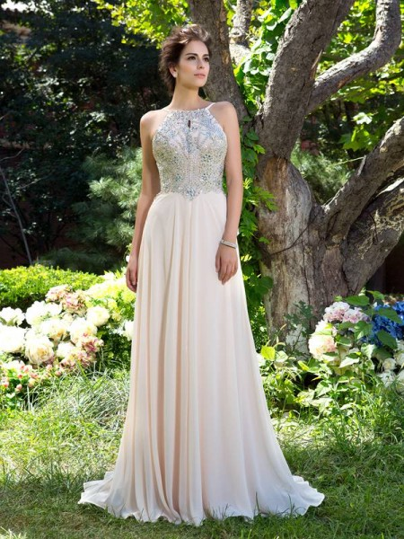 A-Line/Princess Sleeveless Spaghetti Straps Beading Sweep/Brush Train Chiffon Dresses