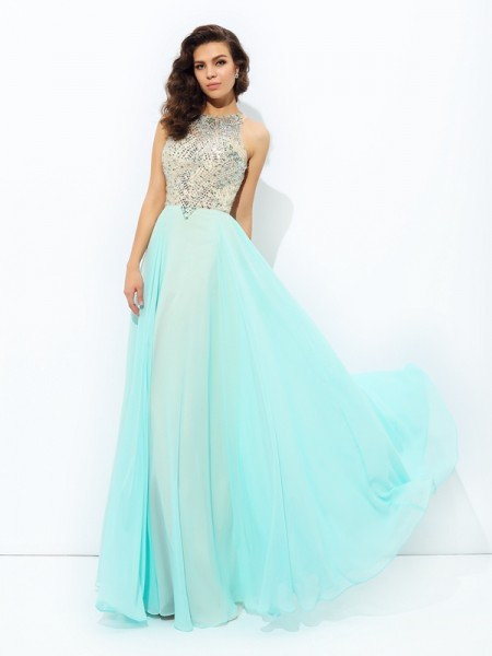 A-Line/Princess Sleeveless Jewel Beading Floor-Length Chiffon Dresses