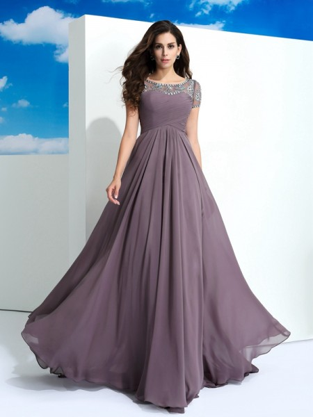A-Line/Princess Short Sleeves Sheer Neck Beading Floor-Length Chiffon Dresses