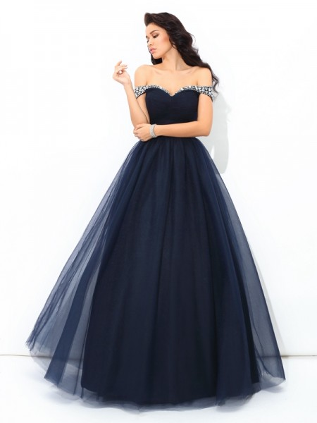 Ball Gown Sleeveless Off-the-Shoulder Beading Floor-Length Net Dresses