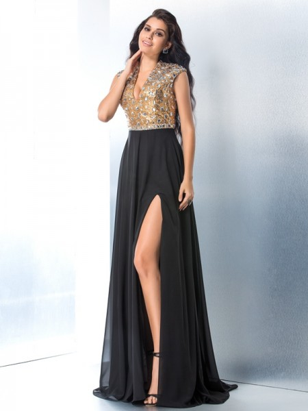 A-Line/Princess Sleeveless V-neck Rhinestone Sweep/Brush Train Chiffon Dresses