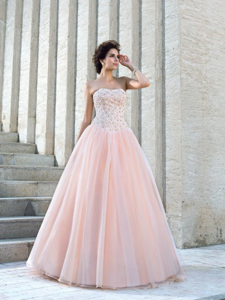 Ball Gown Sleeveless Strapless Beading Floor-Length Satin Wedding Dresses