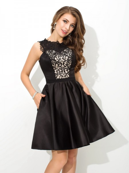 A-Line/Princess Sleeveless Scoop Lace Short/Mini Satin Dresses