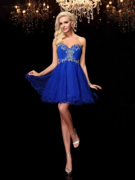 A-Line/Princess Sleeveless Sweetheart Beading Short/Mini Net Dresses