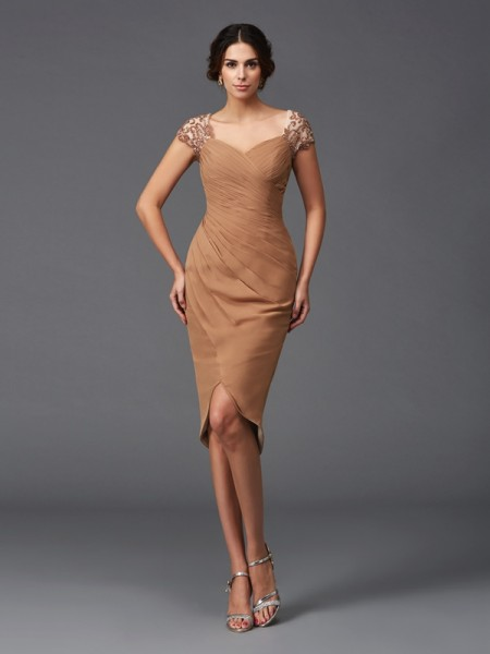 Sheath/Column Short Sleeves Sweetheart Applique Asymmetrical Chiffon Dresses