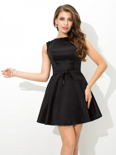 A-Line/Princess Sleeveless High Neck Sash/Ribbon/Belt Short/Mini Satin Dresses