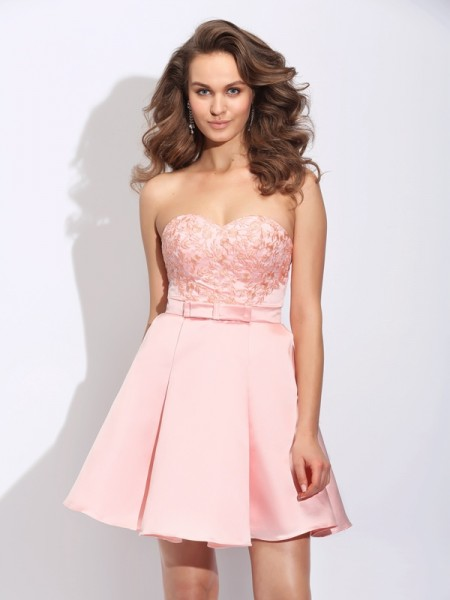 A-Line/Princess Sleeveless Sweetheart Ruffles Short/Mini Satin Dresses