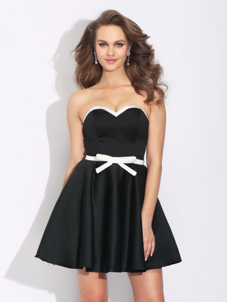 A-Line/Princess Sleeveless Sweetheart Bowknot Short/Mini Satin Dresses