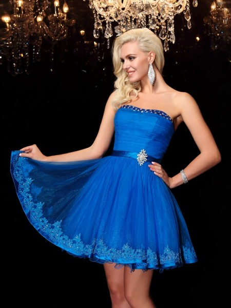 A-Line/Princess Sleeveless Strapless Beading Short/Mini Net Dresses