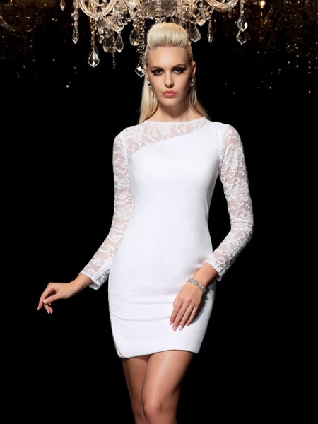Sheath/Column Long Sleeves Scoop Lace Short/Mini Elastic Woven Satin Dresses