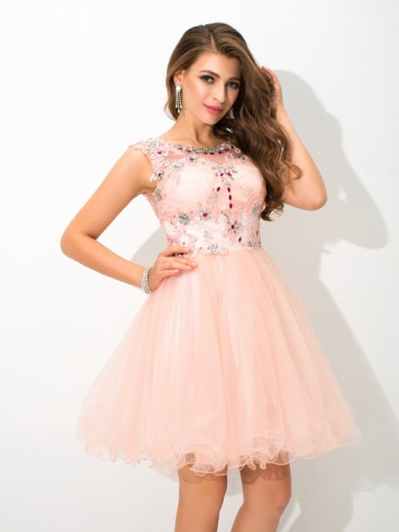 A-Line/Princess Sleeveless Sheer Neck Beading Short/Mini Elastic Woven Satin Dresses
