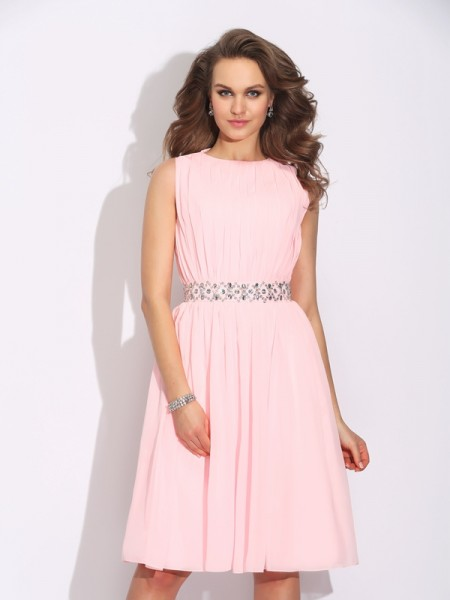 A-Line/Princess Sleeveless Jewel Ruffles Knee-Length Chiffon Dresses