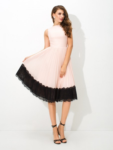 A-Line/Princess Sleeveless High Neck Lace Tea-Length Chiffon Dresses