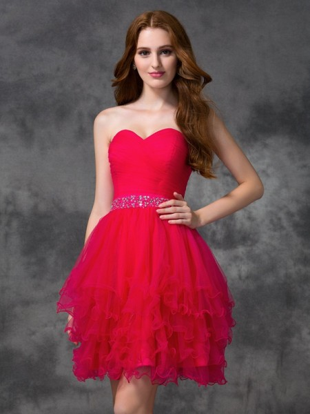 A-Line/Princess Sleeveless Sweetheart Beading Short/Mini Satin Dresses