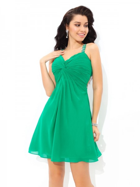 A-Line/Princess Sleeveless Straps Pleats Short/Mini Chiffon Dresses