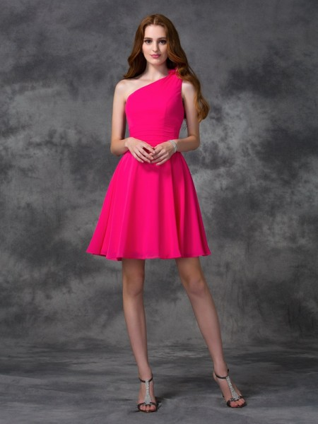 A-Line/Princess Sleeveless One-Shoulder Hand-Made Flower Short/Mini Chiffon Dresses