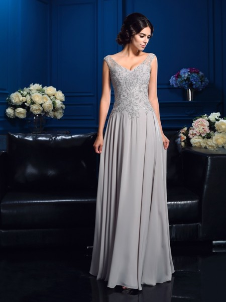 A-Line/Princess Sleeveless V-neck Beading Floor-Length Chiffon Mother of the Bride Dresses