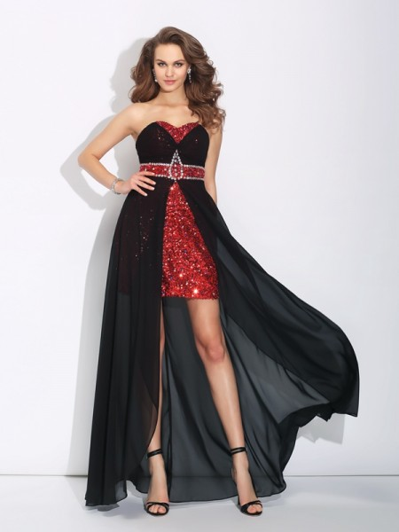 A-Line/Princess Sleeveless Sweetheart Sequin Asymmetrical Chiffon Dresses