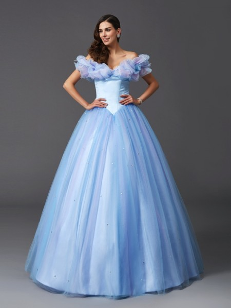 Ball Gown Sleeveless Off-the-Shoulder Beading Floor-Length Net Quinceanera Dresses