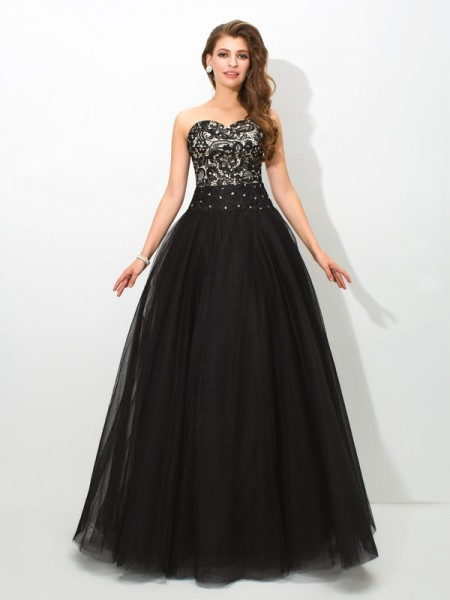 Ball Gown Sleeveless Sweetheart Lace Floor-Length Net Dresses