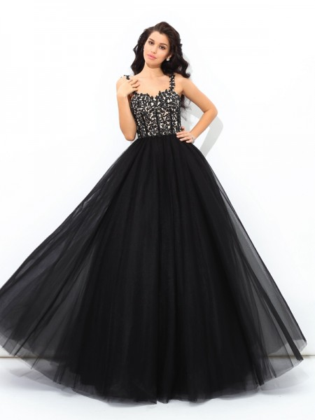 Ball Gown Sleeveless Straps Applique Floor-Length Net Dresses