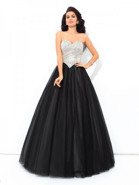 Ball Gown Sleeveless Sweetheart Paillette Floor-Length Net Dresses