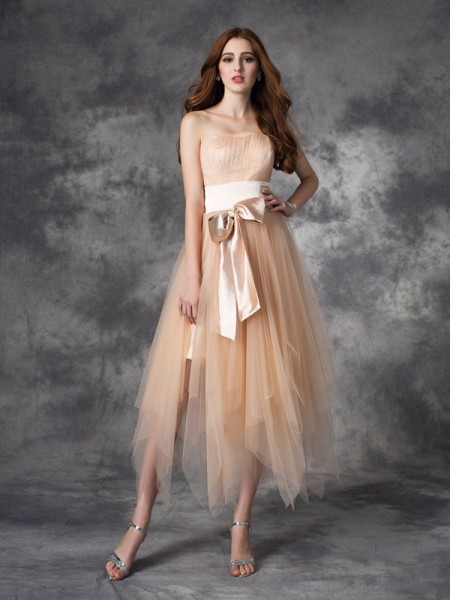 A-Line/Princess Sleeveless Strapless Bowknot Ankle-Length Elastic Woven Satin Dresses