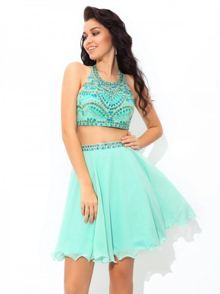 A-Line/Princess Sleeveless Sheer Neck Rhinestone Short/Mini Chiffon Two Piece Dresses