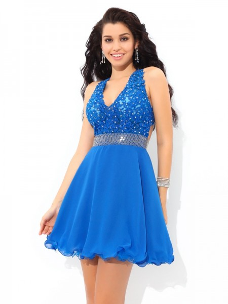 A-Line/Princess Sleeveless V-neck Applique Short/Mini Chiffon Dresses