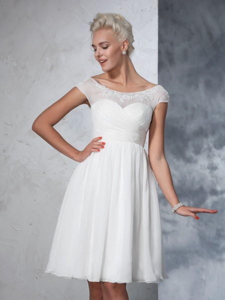 A-Line/Princess Short Sleeves Sheer Neck Ruched Knee-Length Chiffon Wedding Dresses