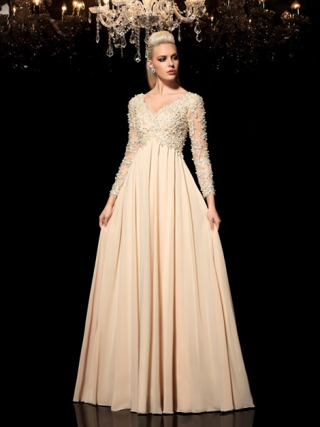 A-Line/Princess Long Sleeves V-neck Applique Floor-Length Chiffon Dresses