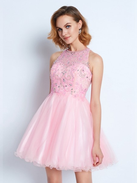 A-Line/Princess Sleeveless Jewel Ruffles Short/Mini Net Dresses