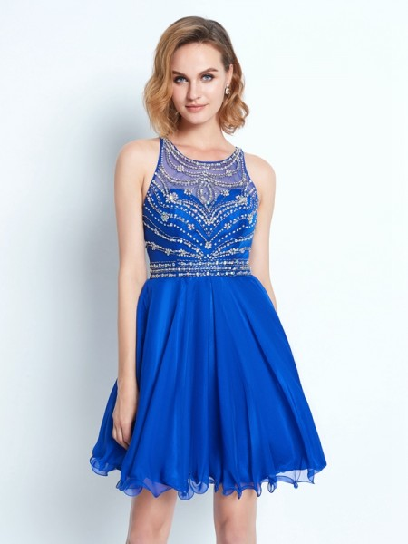 A-Line/Princess Sleeveless Scoop Beading Short/Mini Chiffon Dresses