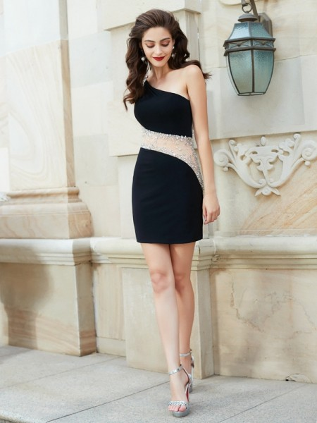 Sheath/Column Sleeveless One-Shoulder Beading Short/Mini Net Dresses