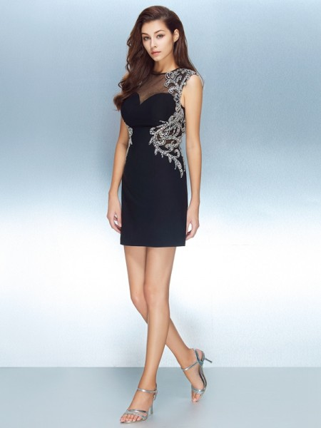Sheath/Column Short Sleeves Jewel Crystal Short/Mini Net Dresses