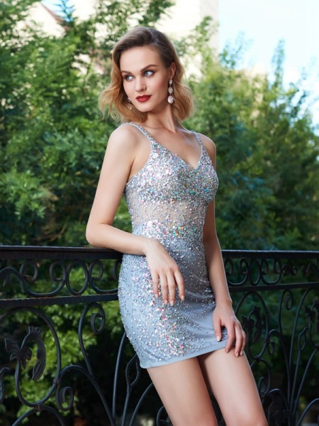 Sheath/Column Sleeveless Spaghetti Straps Sequin Short/Mini Net Dresses