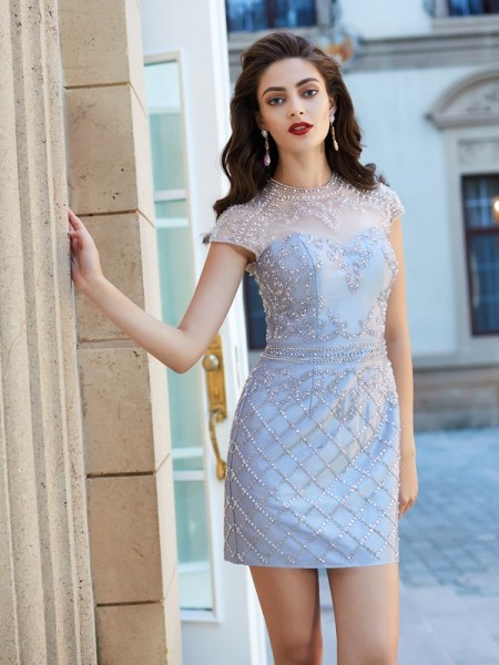 Sheath/Column Short Sleeves Jewel Beading Short/Mini Satin Dresses