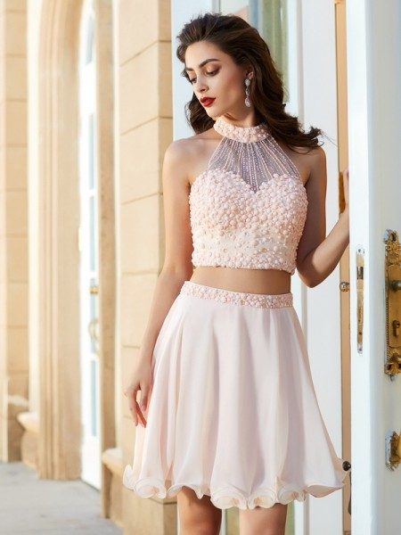 A-Line/Princess Sleeveless Halter Beading Short/Mini Chiffon Two Piece Dresses