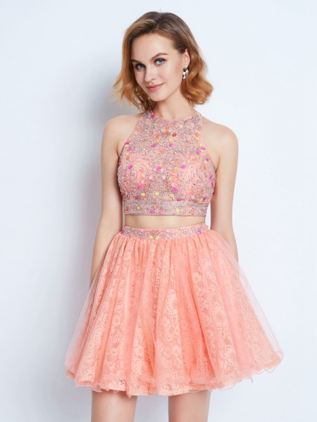 A-Line/Princess Sleeveless Jewel Lace Short/Mini Lace Two Piece Dresses