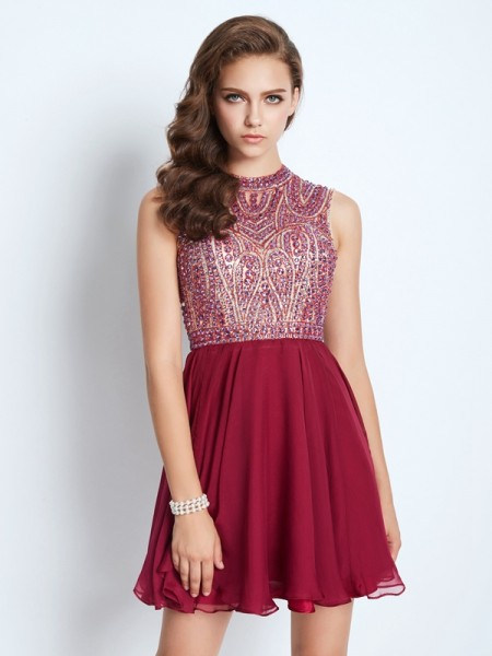 A-Line/Princess Sleeveless Jewel Beading Short/Mini Chiffon Dresses