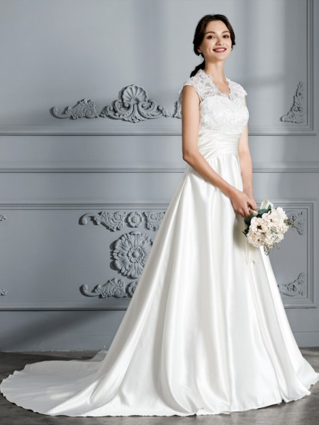 Ball Gown Sleeveless V-neck Court Train Satin Wedding Dresses