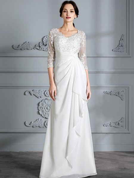 Sheath/Column 3/4 Sleeves V-neck Floor-Length Chiffon Wedding Dresses