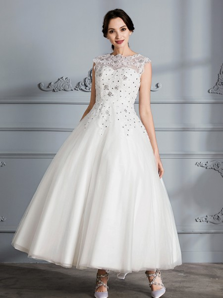 Ball Gown Sleeveless Scoop Tea-Length Tulle Wedding Dresses