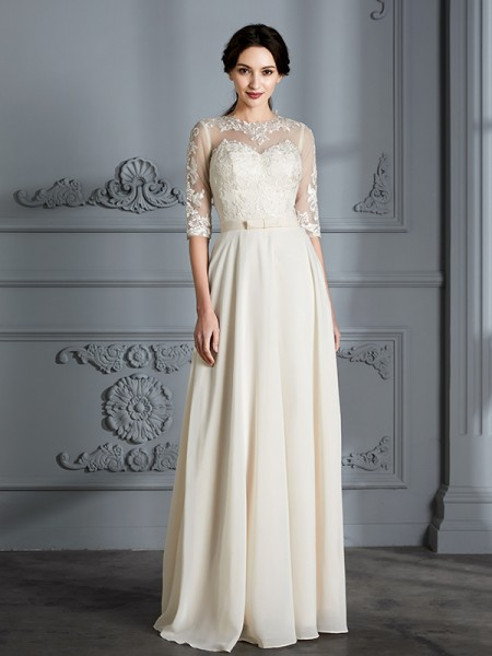 A-Line/Princess 1/2 Sleeves Scoop Floor-Length Chiffon Wedding Dresses