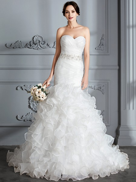 Trumpet/Mermaid Sleeveless Sweetheart Sweep/Brush Train Satin Wedding Dresses