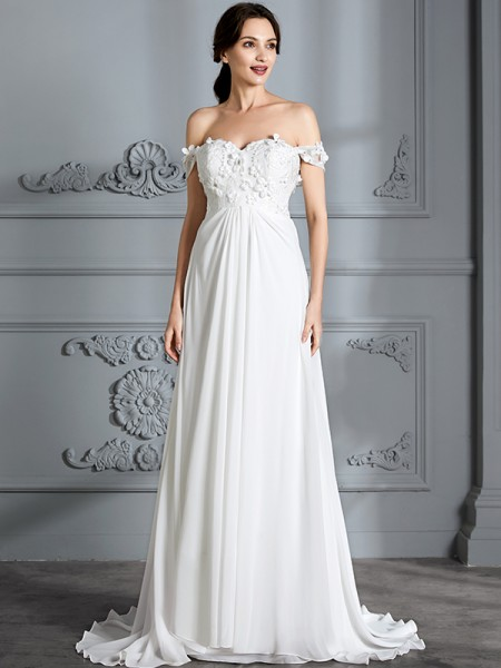 A-Line/Princess Sleeveless Off-the-Shoulder Floor-Length Chiffon Wedding Dresses