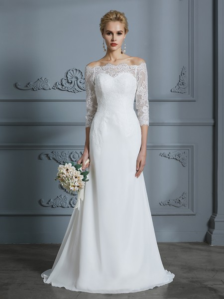 Trumpet/Mermaid 1/2 Sleeves Off-the-Shoulder Lace Sweep/Brush Train Chiffon Wedding Dresses
