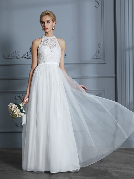 A-Line/Princess Sleeveless Scoop Lace Floor-Length Tulle Wedding Dresses