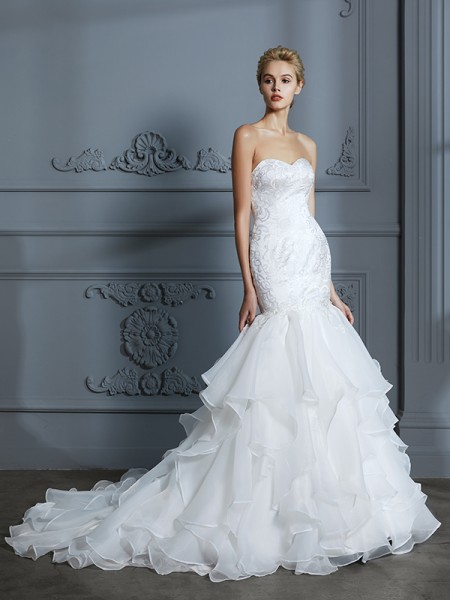 Trumpet/Mermaid Sleeveless Sweetheart Ruffles Sweep/Brush Train Organza Wedding Dresses