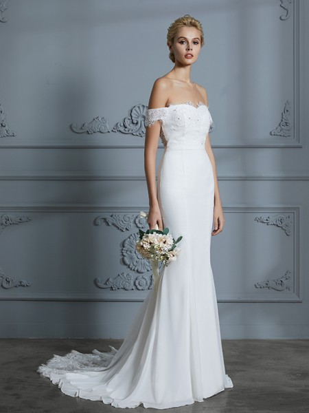 Trumpet/Mermaid Sleeveless Off-the-Shoulder Lace Sweep/Brush Train Chiffon Wedding Dresses